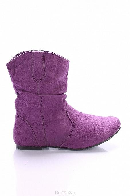 b68e1059bfa99 Fioletowe botki saszki płaskie Wax06 - Bucikowo - Mode obuwie damskie